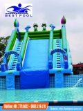 Nhà hơi trượt nước 5m*6m kết hợp bể bơi di động