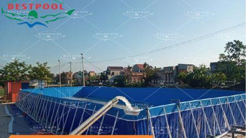 Bể bơi kinh doanh di động KT 9.6m x 24.6m x 1.5m