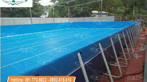 Bể bơi lắp ghép thông minh tại Phú Lộc Nho Quan Ninh Bình KT 9.6m x 20.1m x 1.2m